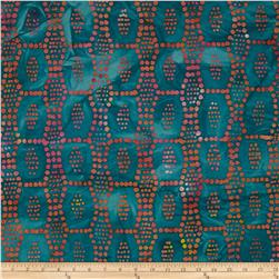Indian Batiks Dot Block Teal/Yellow