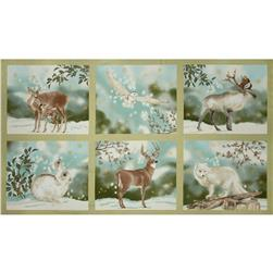 Robert Kaufman Winter White Metallic 24 In. Panel Forest