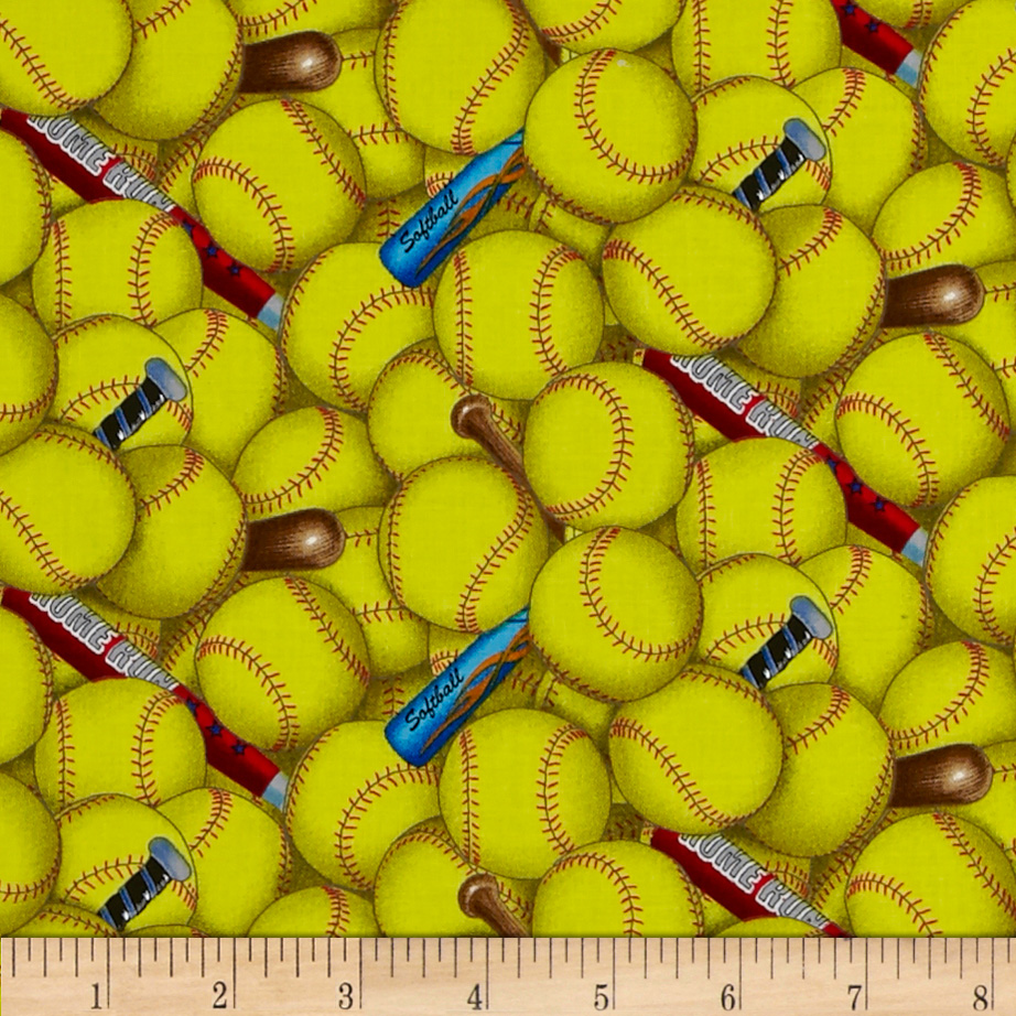Fabric.com coupon: Sports Softball Yellow Fabric