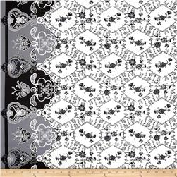 Cotton Lawn Flourish Border White/Black