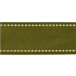 1 1/2'' Grosgrain Ribbon Saddle Stitch Olive/Ivory