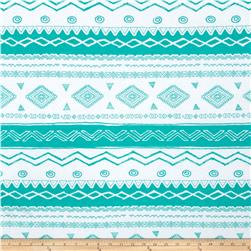 Soft Jersey Knit Aztec Green/White