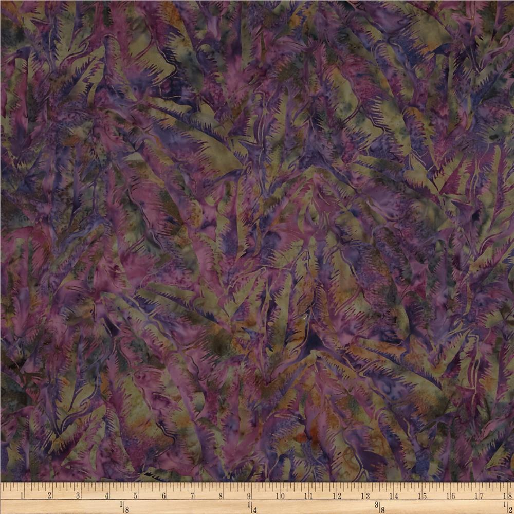 Bali Batiks Handpaints Tropical Leaves Plum