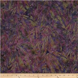 Bali Batiks Handpaints Tropical Leaves Plum Fabric