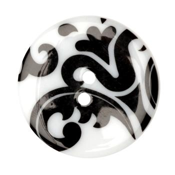 Fashion Button 1-3/8'' Damask White/Black
