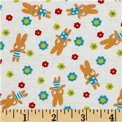 Tiny Prints Tossed Floral & Bunnies White