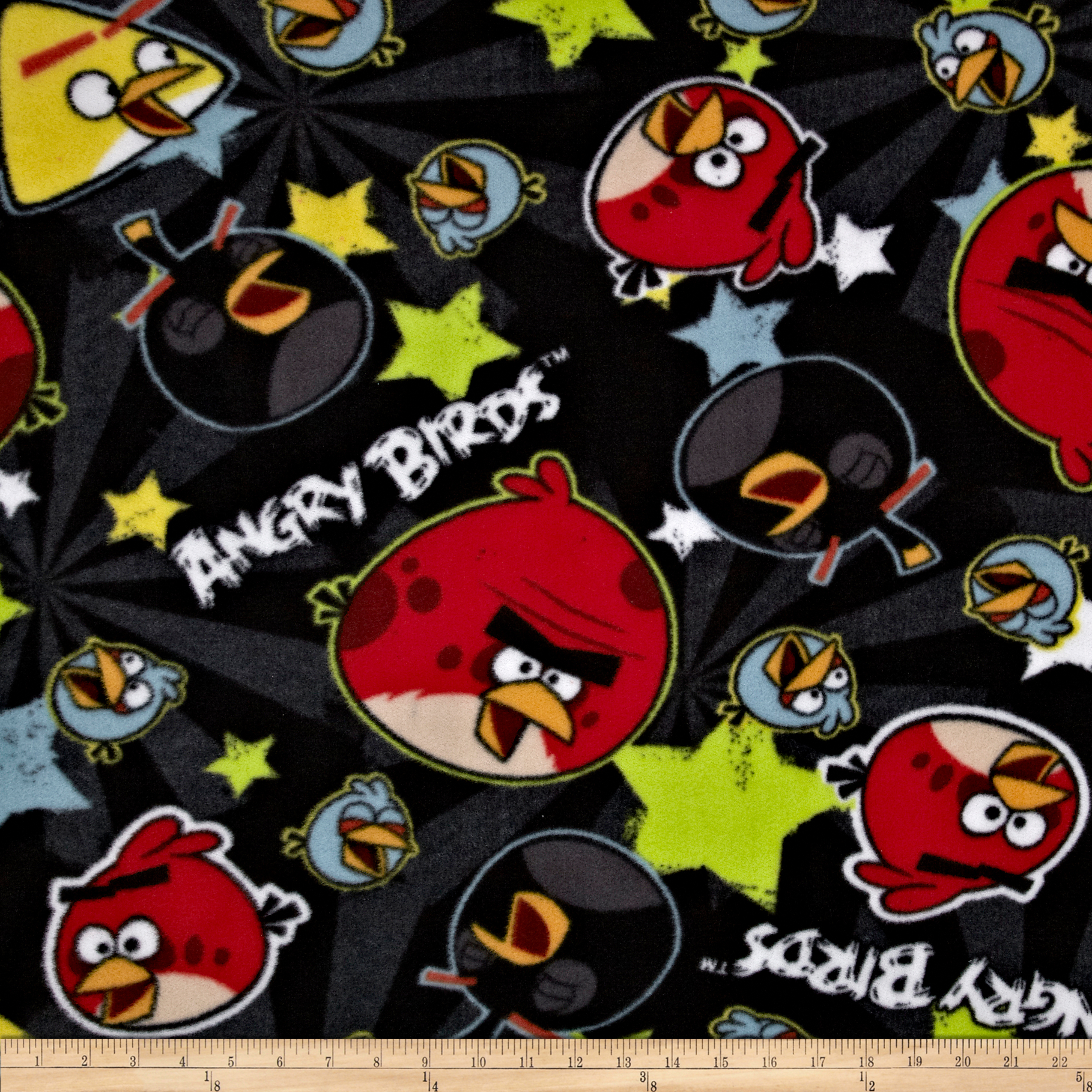 Angry Birds Fleece Stars Black Fabric