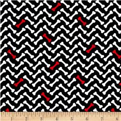 Timeless Treasures Dog Bones Chevron Black