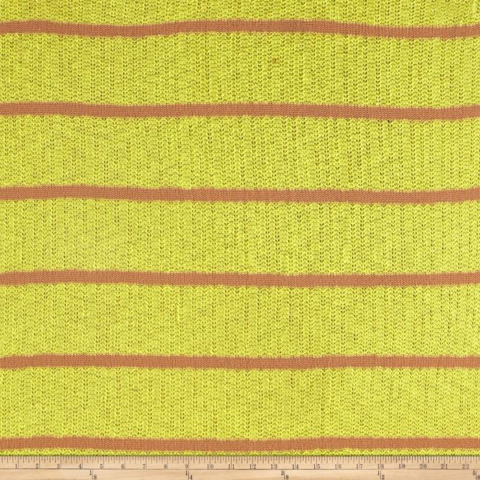 Designer Cozy Sweater Knit Stripes Yellow/Tea