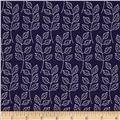 Fabric Freedom Springtime Floral Leafy Branch Navy