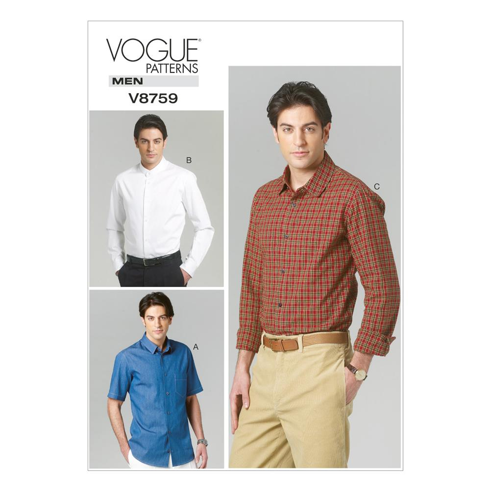 Vogue Men's Shirt Pattern V8759 Size MUU