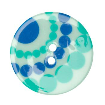 Fashion Button 1-3/8'' Confetti Circles Blue/Green