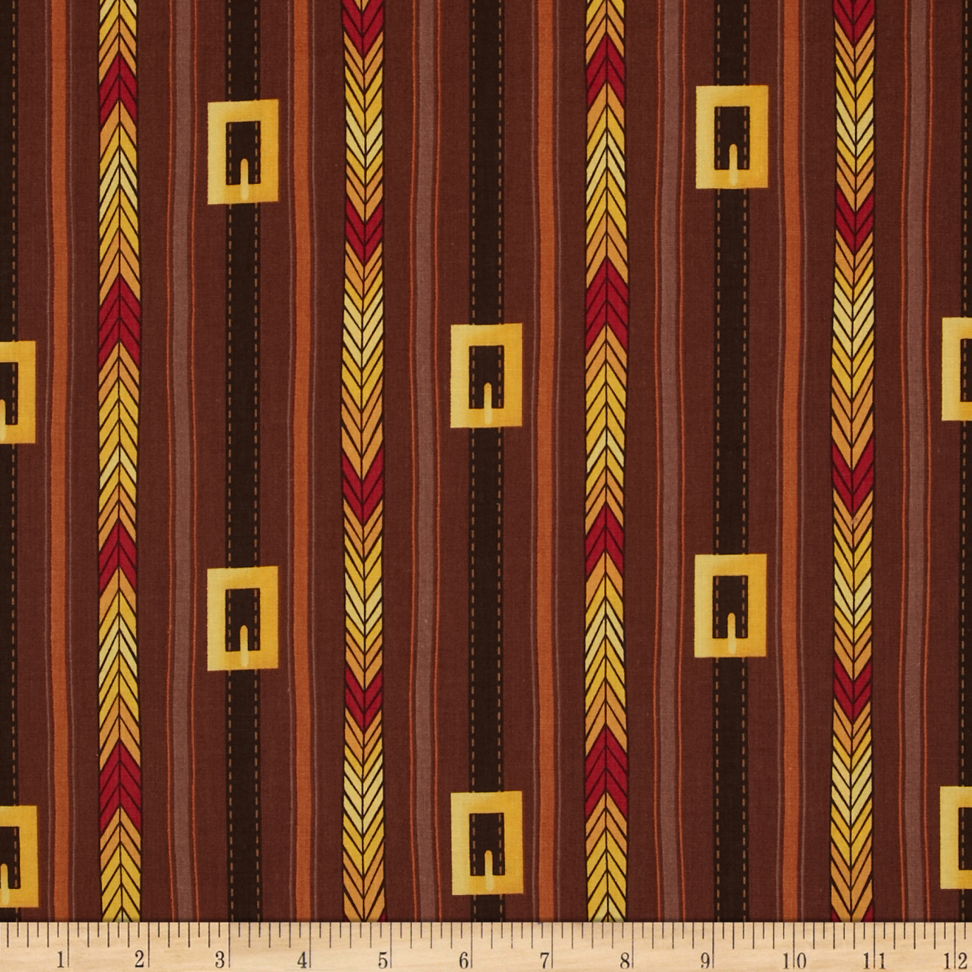 First Thanksgiving Buckle Stripe Brown Fabric