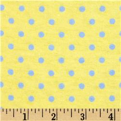Aunt Polly's Flannel Small Polka Dots Yellow/Blue