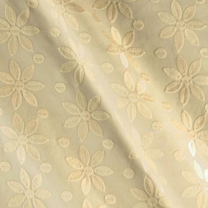 Kaufman Rebecca Embroidered Poplin Flower Natural