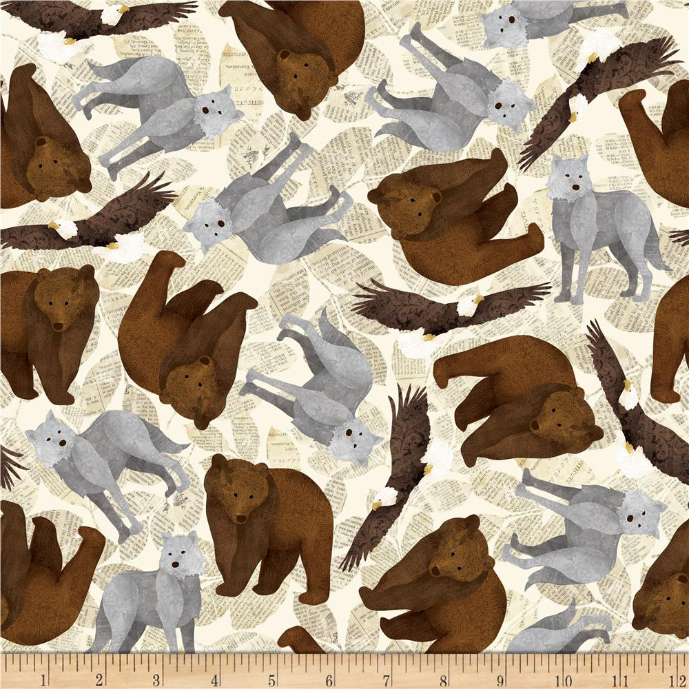 Riley Blake Trail Mix Animals Cream