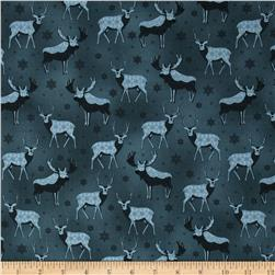 Winter Frost Reindeer Dark Blue