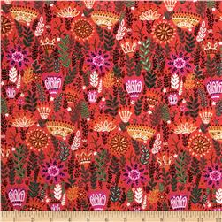 Wild Field Large Fern Floral Red