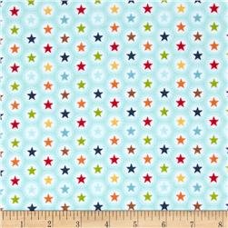 Riley Blake Play Ball Flannel Star Aqua Fabric