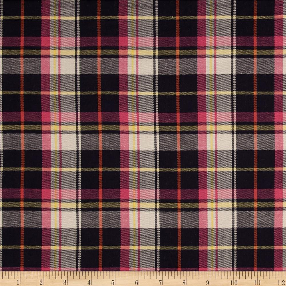 Stretch Rayon Yarn Dyed Shirting Plaid Pink/Black/Yellow