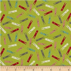 Wash Day Clothespins Green