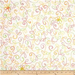 White Sands Floral Embroidered Yellow/Green/Orange