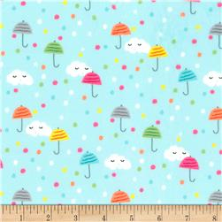 Michael Miller Minky Puddle Play Happy Clouds Aqua