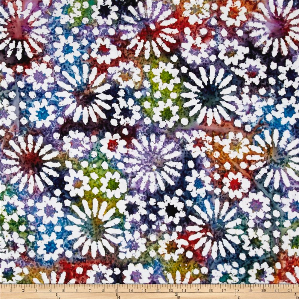 Indian batik cascades daisy dark multi discount designer for Modern fabrics textiles