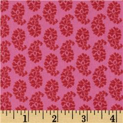 Joyful Leaf Paisley Red on Pink