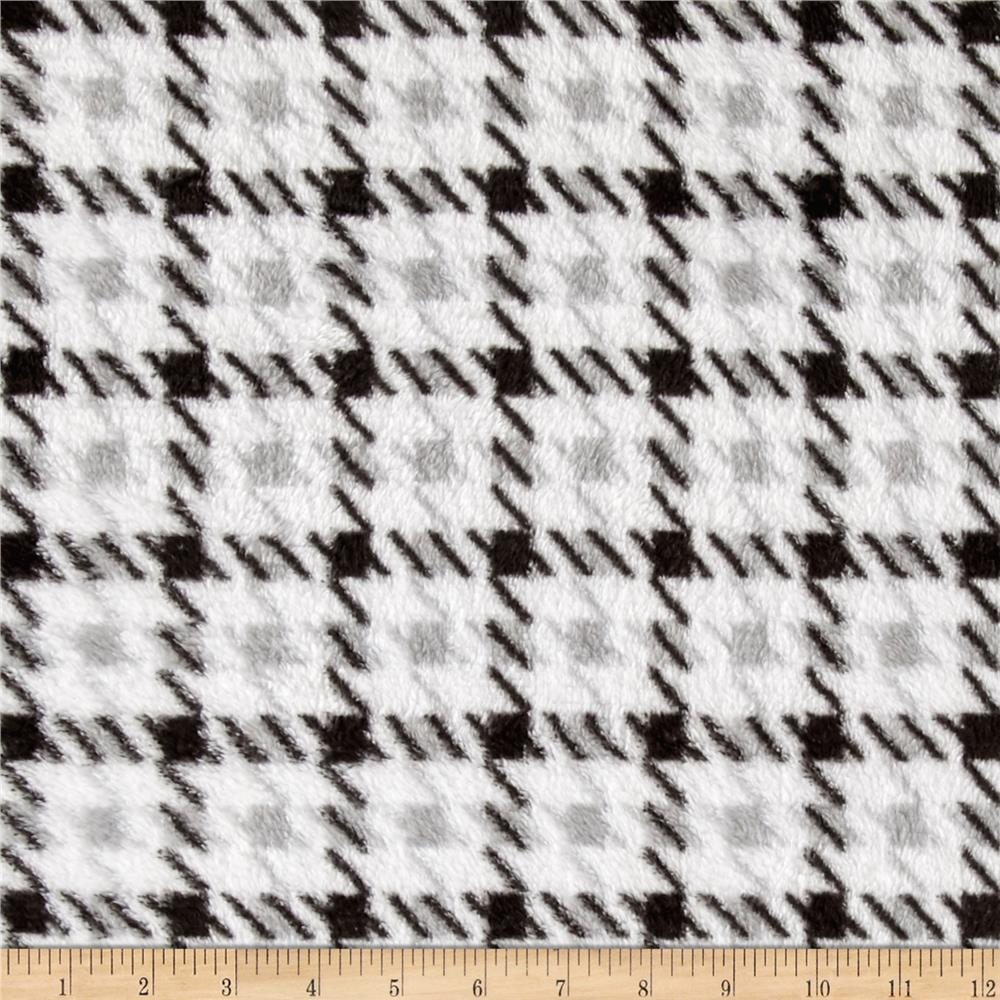 Whisper Plush Fleece Houndstooth Black/White Fabric