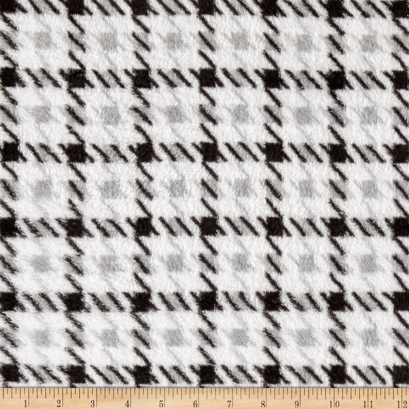 Whisper Plush Fleece Houndstooth Black/White Fabric by Newcastle in USA