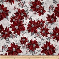 Robert Kaufman Holiday Flourish Metallic Poinsettias Silver