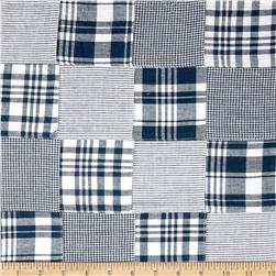 Madras Patchwork Plaid Navy White