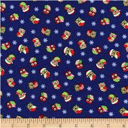 Timeless Treasures Christmas Mini Owls Navy