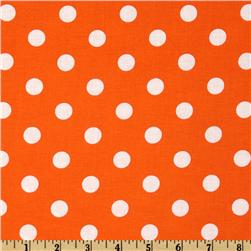 Happy Halloween Polka Dots Orange/White Fabric