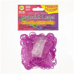 Silicone Band Loops 300/Pkg W/8 Clips-Purple