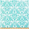 Riley Blake Hollywood Sparkle Medium Damask Aqua