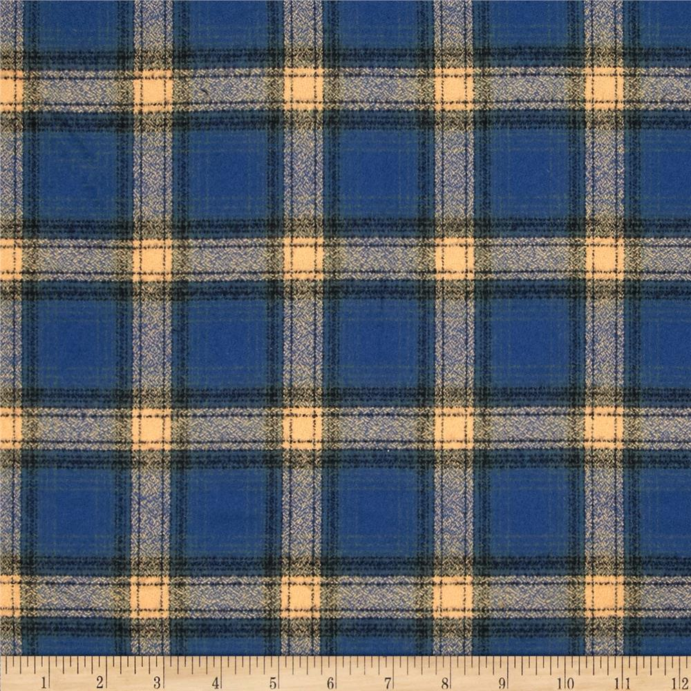 Kaufman Mammoth Flannel Plaid Pacific Fabric By The Yard