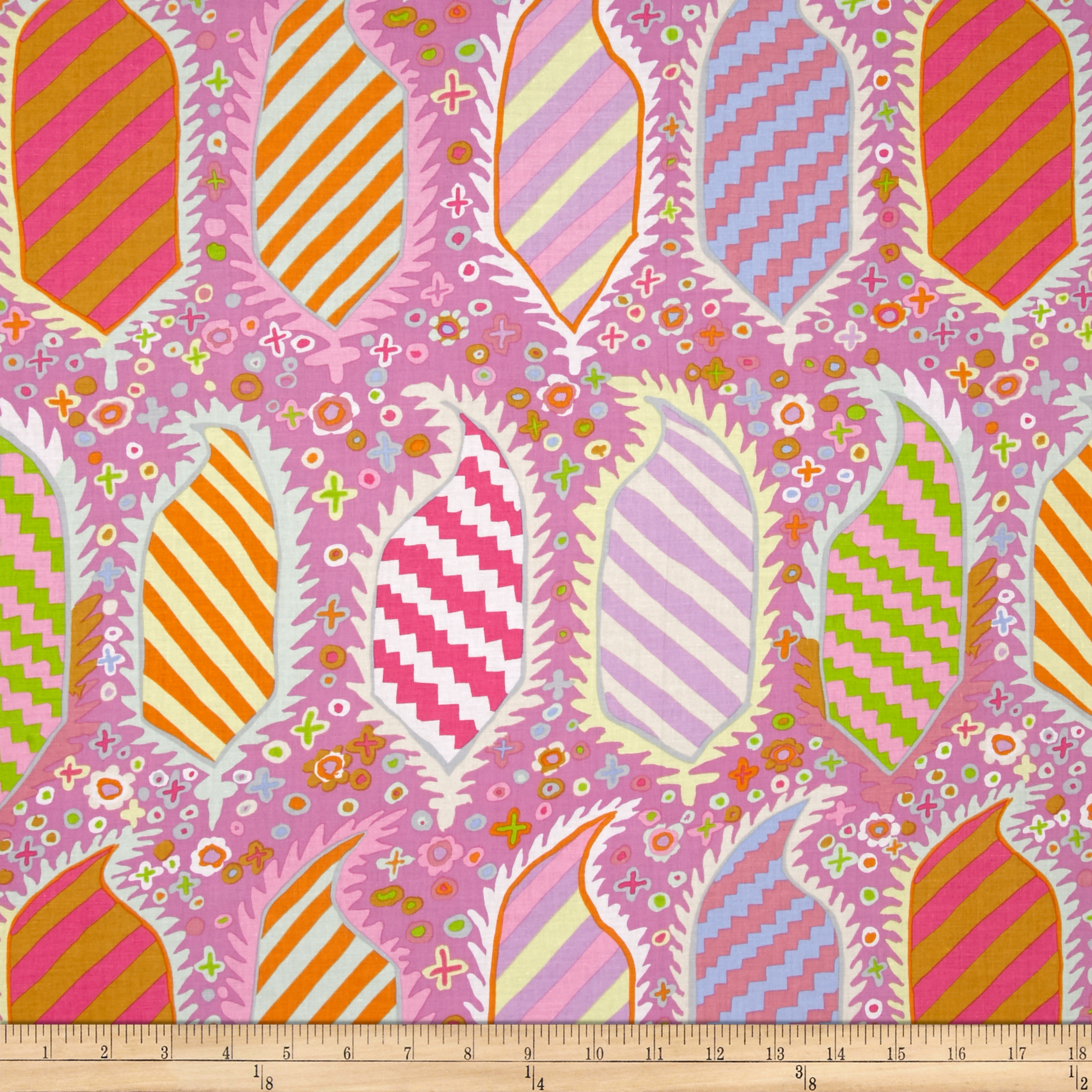 Kaffe Fassett Striped Heraldic Pink Fabric