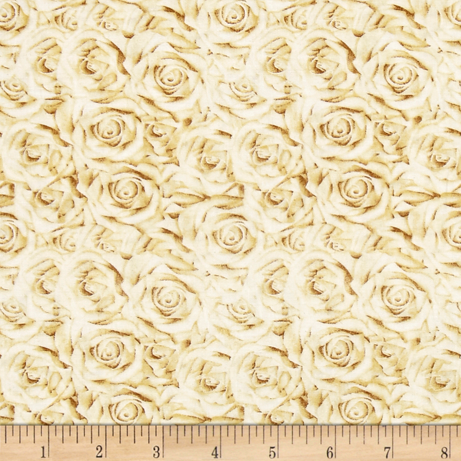 I Do Roses Champagne Fabric by Quilting Treasures in USA