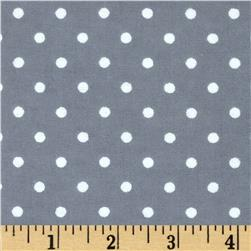 Aunt Polly's Flannel Small Polka Dots Grey/White