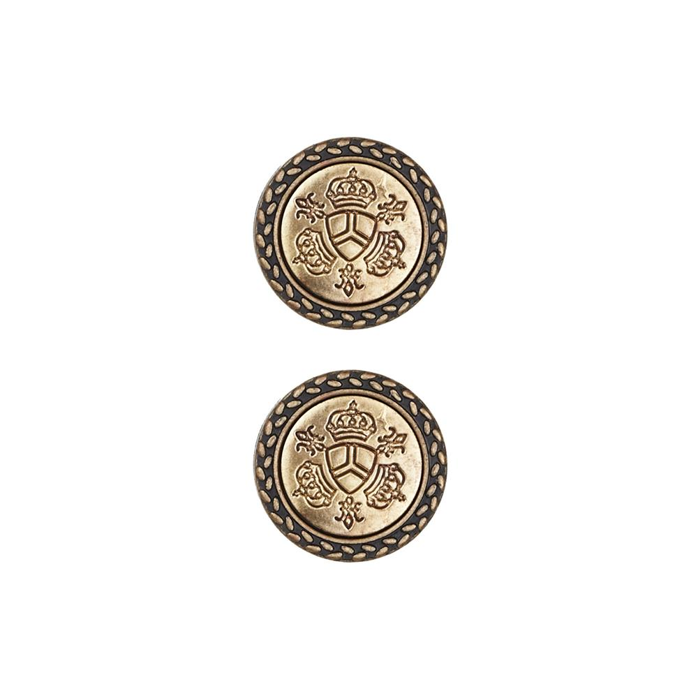Dill Buttons 3/4'' Full Metal Combination Crest Antique Gold