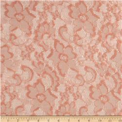 Shimmer Stretch Lace Floral Peach Blush Fabric
