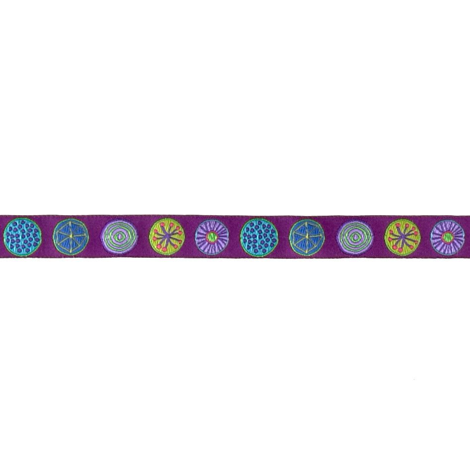 "5/8"" Sue Spargo Circles on Purple Ribbon"