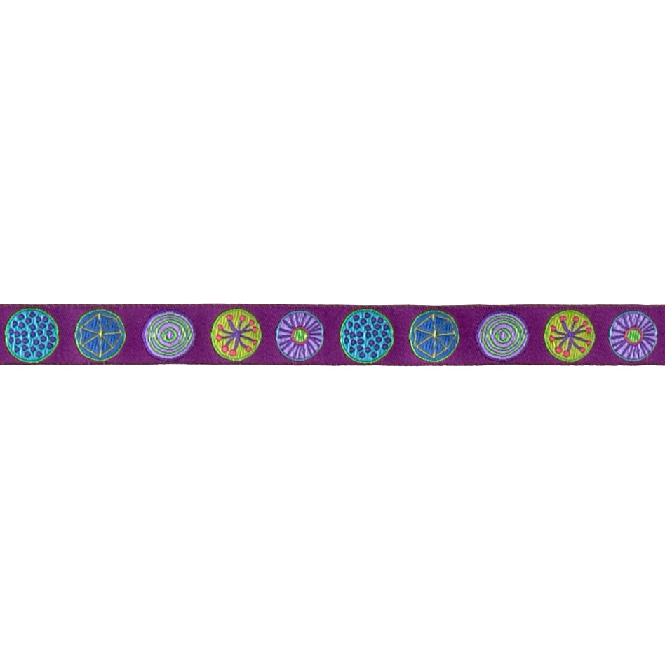 5/8'' Sue Spargo Circles Ribbon Purple