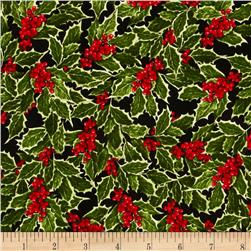 Holly Jolly Christmas Holly Black Fabric