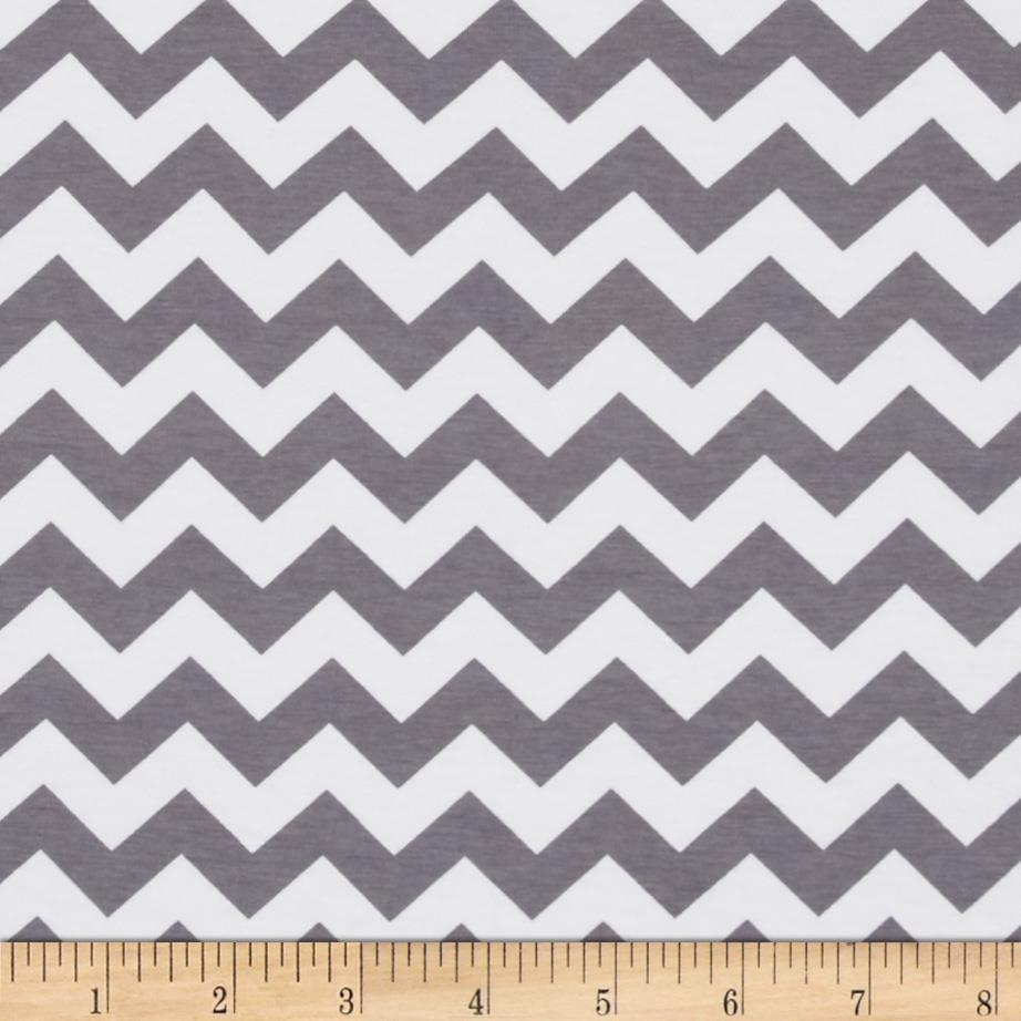 Riley Blake Cotton Jersey Knit Chevron Small Grey