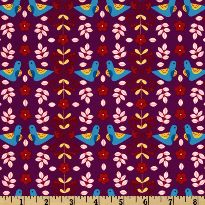 Little Kukla Flowers And Birds Bright Purple
