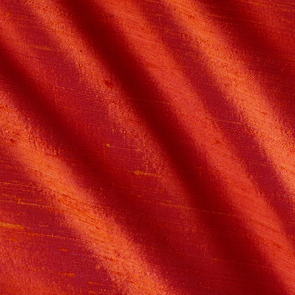 Image of Dupioni Silk Fabric Iridescent Coral