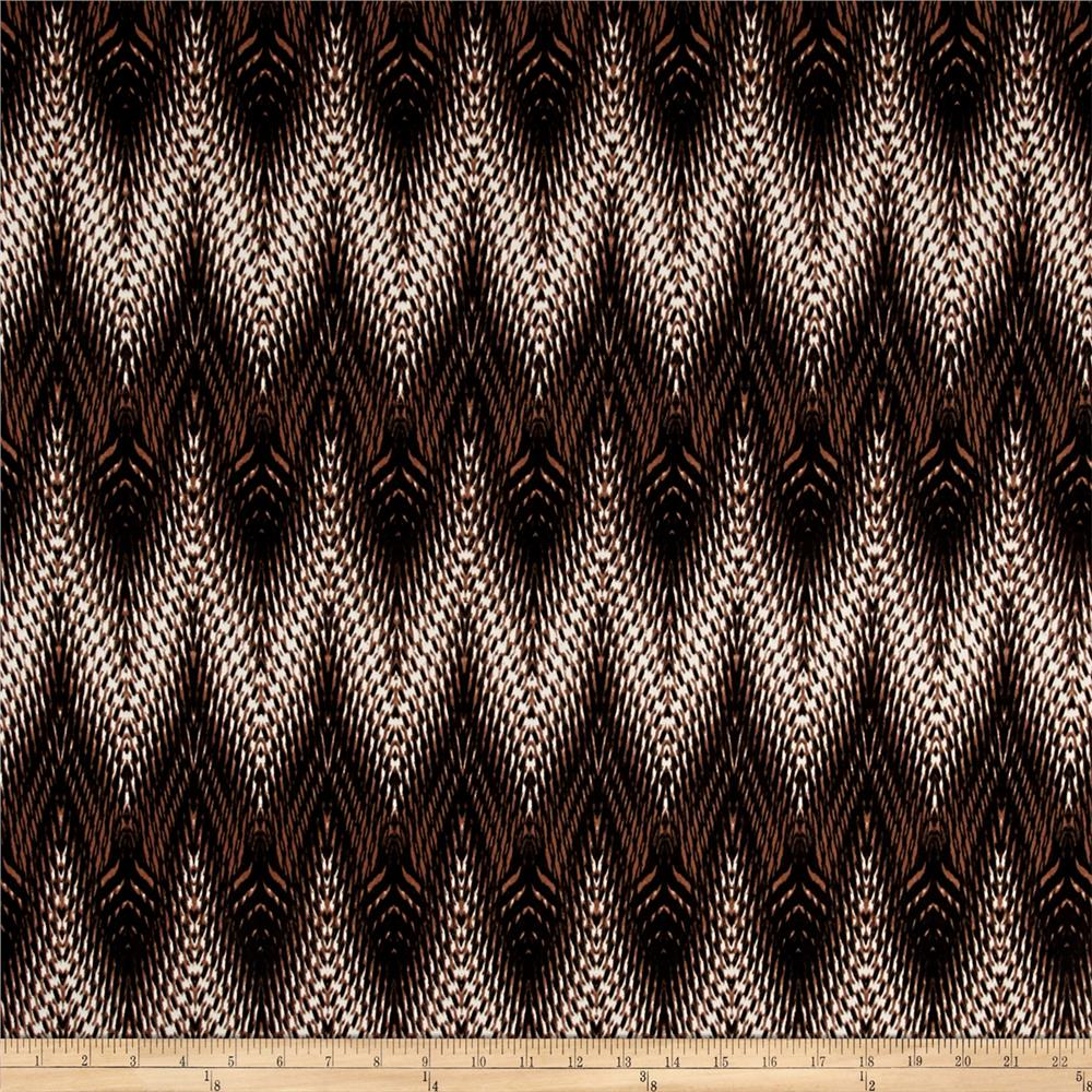 Stretch ITY Jersey Knit Zig Zag Black Brown